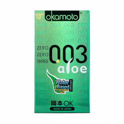 Bao cao su Okamoto 0.03 Aloe hương nha đam nhẹ nhàng (10 chiếc)