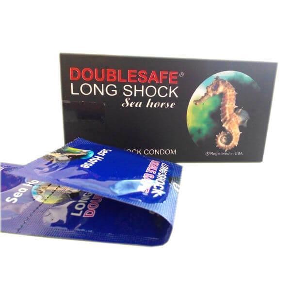 Bao cao su cá ngựa Doublesafe Long Shock (hộp 12 chiếc)